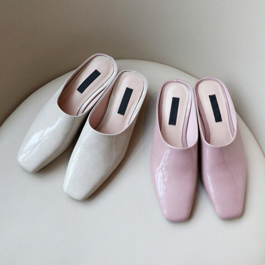 Mujeres Moda en Las Nuevas Punta Zapatillas Tacones Mulas Beige Cuero pink Diapositivas Verano Aire 2019 Libre Donna Sandalias Zapatos Al Cuadrada De La 6q44S