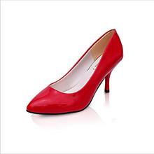 2017 Spring And Summer Women 's Shoes Of The New Tip Patent Leather Shallow Mouth Shoes Korean High Heels .LSS-708