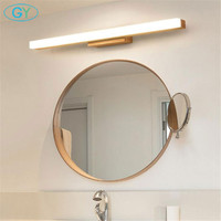 2018 New Wood LED vanity lights L40cm L60cm L80cm acrylic led bathroom mirror lights 7W 11W 14W long wood washroom wall lamp