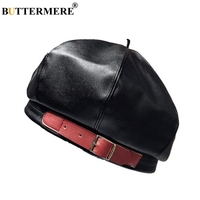 BUTTERMERE Leather French Beret Women Black Octagonal Cap Female Vintage Spring Summer Ladies Brand 2019 New Pumpkin Hat