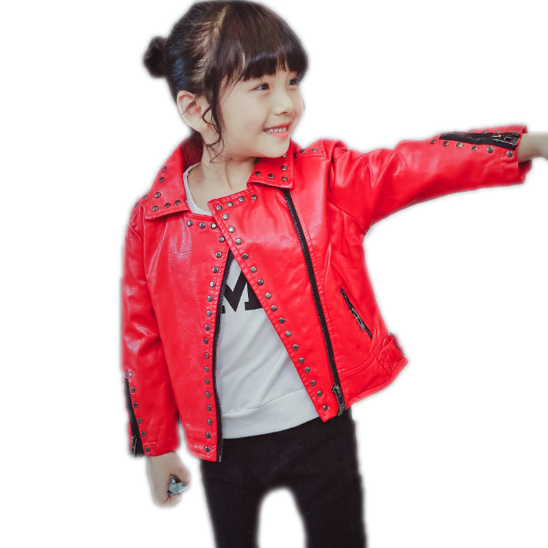 New Revit Kids Leather Jacket Girls PU Jacket Turn Down Collar Children Leather Outwear For Girl Baby Girl Jackets And Coats недорого