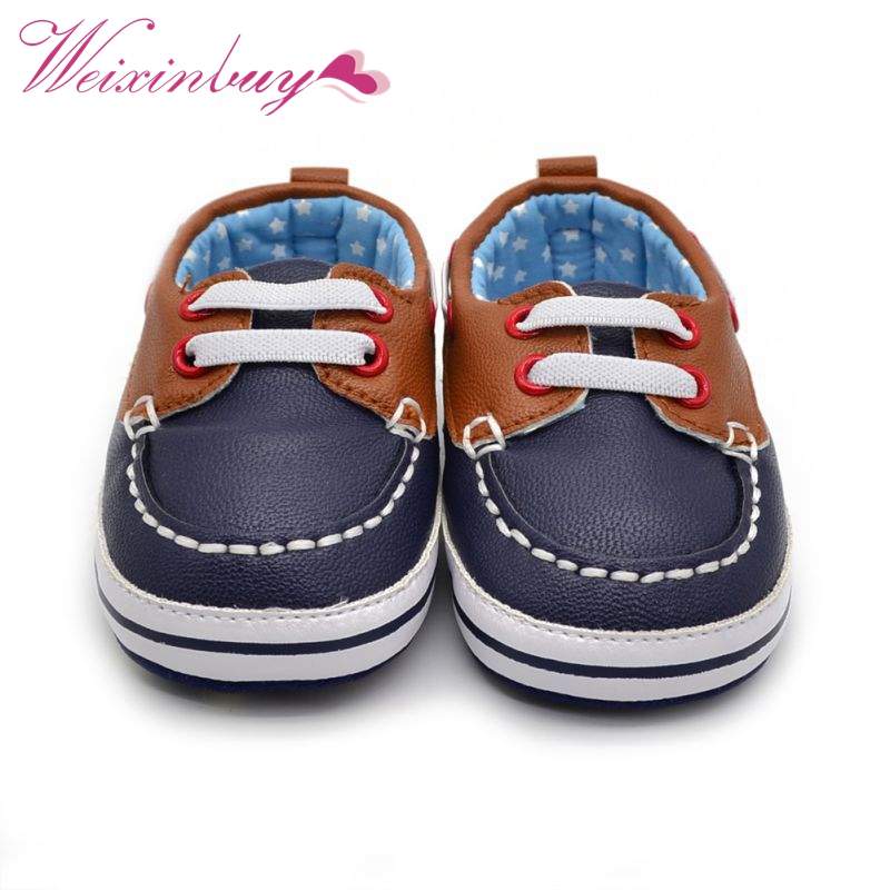 Anti-Slip First Walkers 0-18M Kids PU Leather Baby Boys Lace Up Crib Shoes Mixed Colors Moccasins Bota Toddler Bebe New Arrival