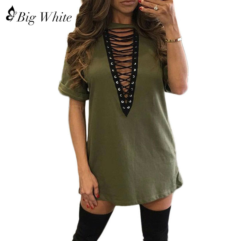2018 New Fashion Sexy Bandage Shirt Sexy Women Deep v Neck Top Women Tops Short Sleeve Hollow Out Nightclub Women Cotton t Shirt