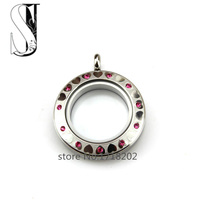 30mm SilverTwist Water Proof Stainless Steel Screw Floating Glass Locket Rose Red Crystal&Heart Floating Locket Pendant Jewelry