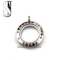 30mm SilverTwist Water Proof Stainless Steel Screw Floating Glass Locket Rose Red Crystal&Heart Floating Locket Pendant Jewelry