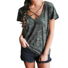 Summer T-Shirts Top Printed Camouflage Casual Loose T Shirt Short Sleeve V-neck Loose Tee Shirt Women