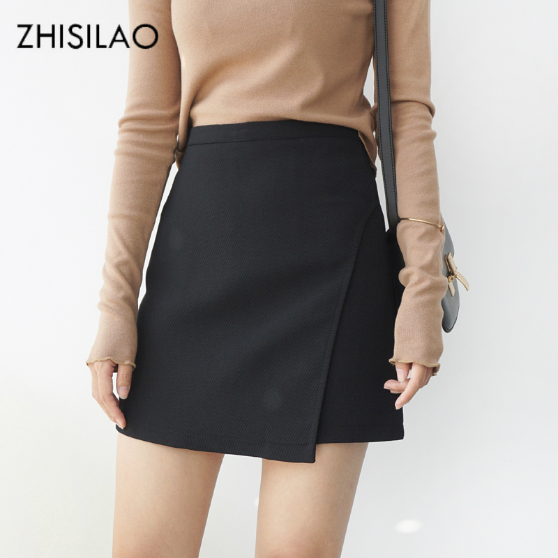 ZHISILAO 2018 Woman Skirts Woman Pencil Skirt Lolita Bodycon Sexy Slim High Waist Jupe Petticoat Skinny Black Skirt Cotton Robe