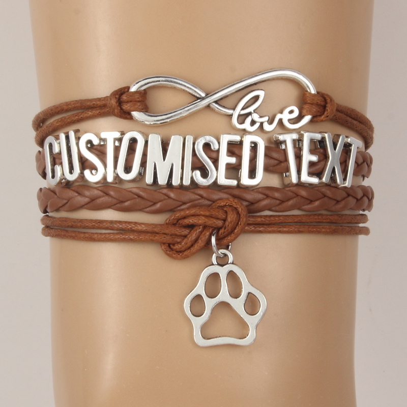 Drop Shipping Infinity Love Customised Text Bracelets ...