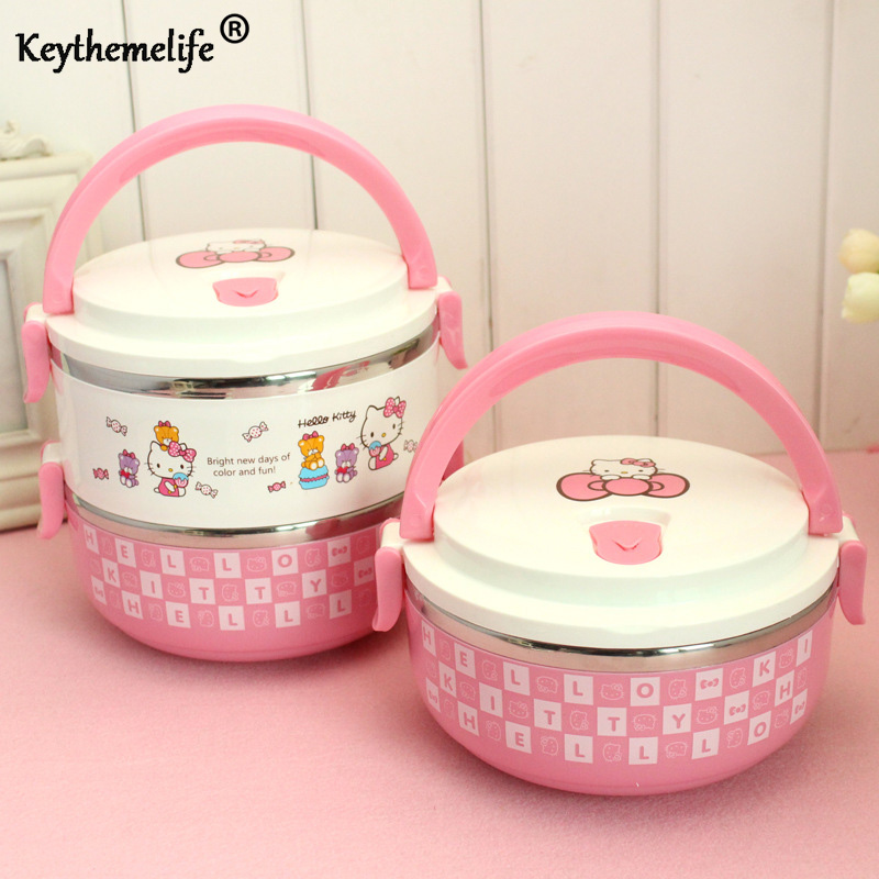 Keythemelife Hello kitty Thermo Lunch Boxs Portable Food Container PP Stainless Steel Kids Lunchbox for Students