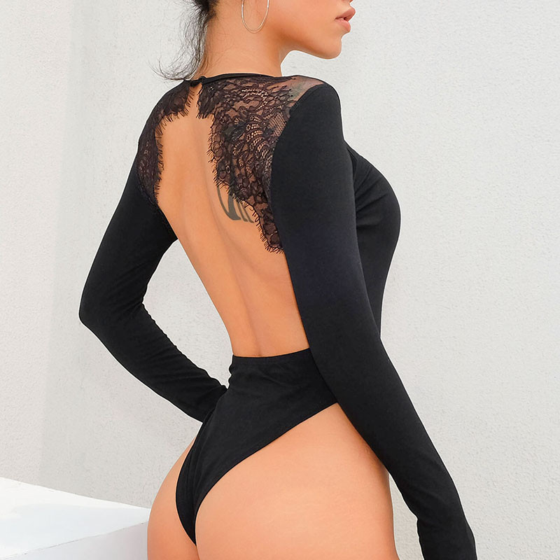 SUCHCUTE Bodysuit Sexy Backless Bodysuit Long Sleeve Bodysuit Lace Black O Neck Bodycon Slim Casual Lace Elegant Women Jumpsuit