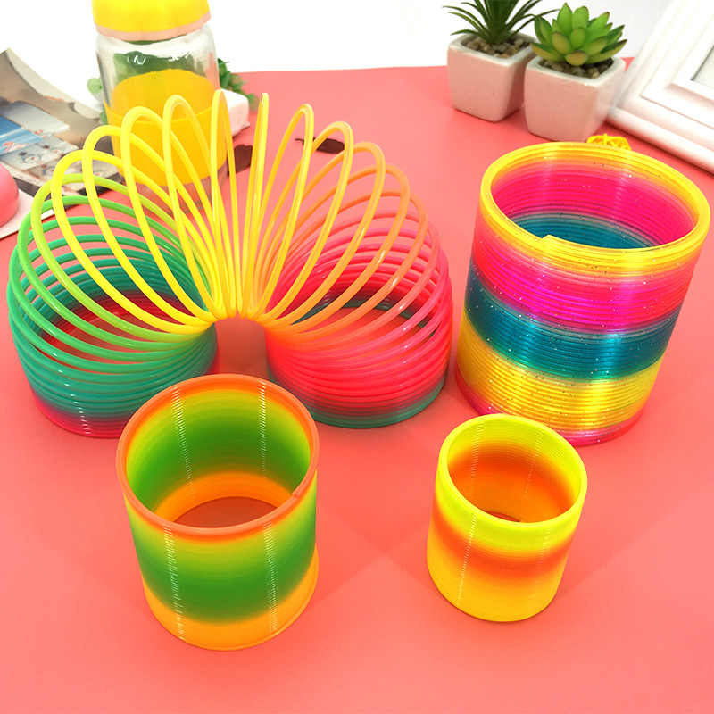Rainbow Fashion Toys Child Colorful Rainbow Circle Folding Plastic Spring Coil Toy For Creative Educational Toys Color Random