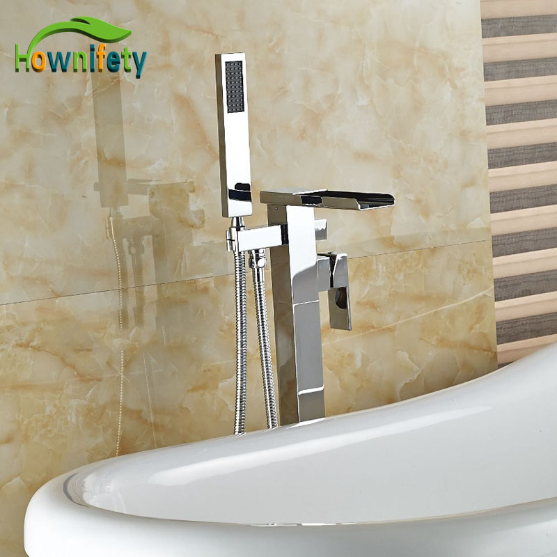Wholesale And Reatil Free Standing Tub Faucet Chrome Brass Polish Bathtub Tap Floor Mounted Faucet