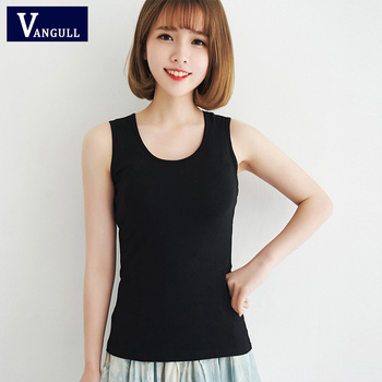 VANGULL women's solid cotton vest female slim vest 1