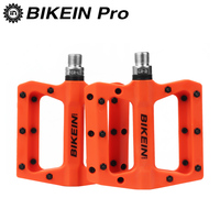 BIKEIN Cycling Mountain Bike Nylon Pedal 9/16 Red/Orange/Black/Blue Cycling MTB Bearing Platform BMX Pedals Bicycle Parts 355g