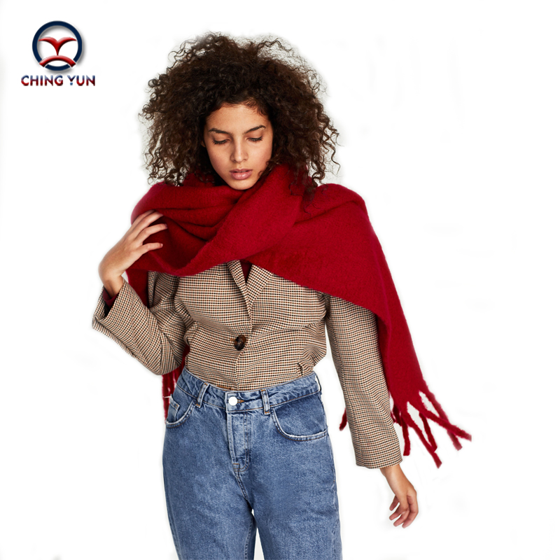 New fashion Spring winter ZA style long Soft Cashmere Warm Thickening Tassels shawls Scarves solid color women scarf 2018