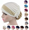 New women Padded Folded turban cap Georgette Flower Headcover for Cancer Chemo Hair Loss