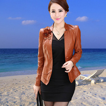 Fashion large size 4XL jackets women leather jacket coat short new 2014 autumn lady's suit women leather blazers coats female