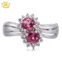 1 38 CT Natural Pink Tourmaline Topaz Solid 925 Sterling Silver Halo Ring Fine Jewelry