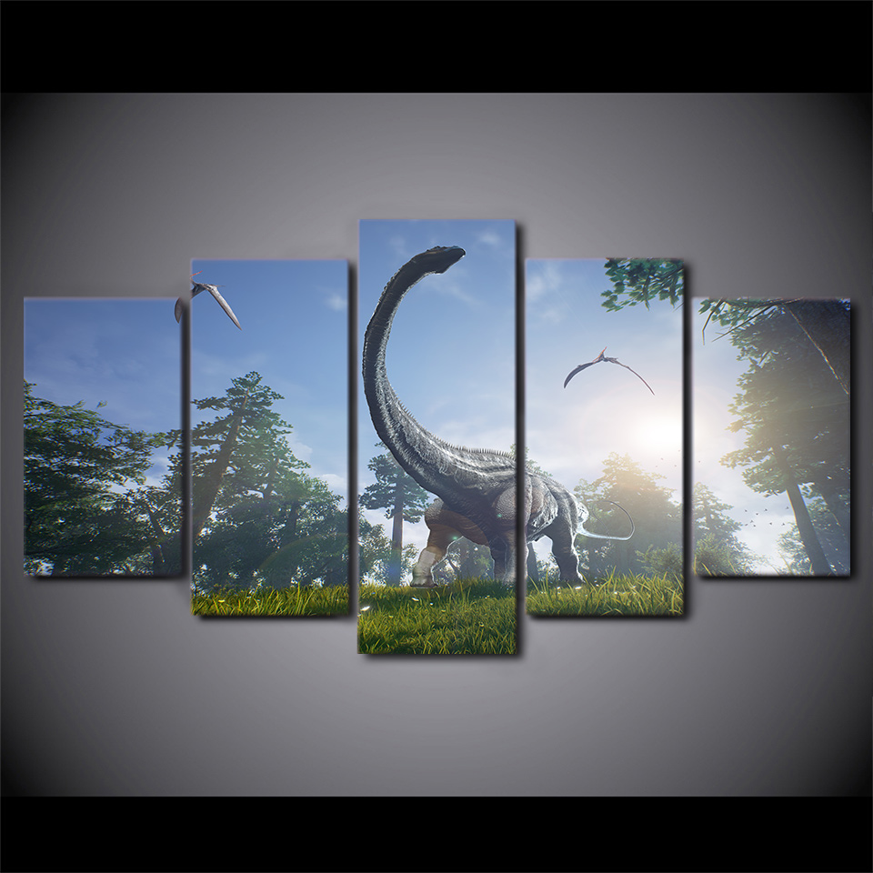 Canvas Paintings Printed 5 Pieces Jurassic Park Dinosaurs Wall Art Canvas Pictures For Living Room Bedroom Home Decor-in Painting u0026 Calligraphy from Home ... & Canvas Paintings Printed 5 Pieces Jurassic Park Dinosaurs Wall Art ...