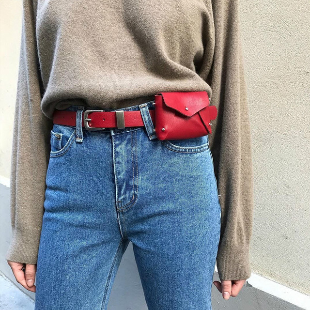Модные Простые талии сумка женская мини заклепки Сумки на пояс бренд Дизайн чехол Для женщин красный мини кошелек ремень Сумки карманов Bolsos Mujer