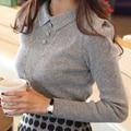 Camisa nova Das Mulheres T 2015 das Mulheres da Moda Vestuário Fino Turn-down Collar Camisola de Malha Pullover camisa Mulheres Fino Causal Tops