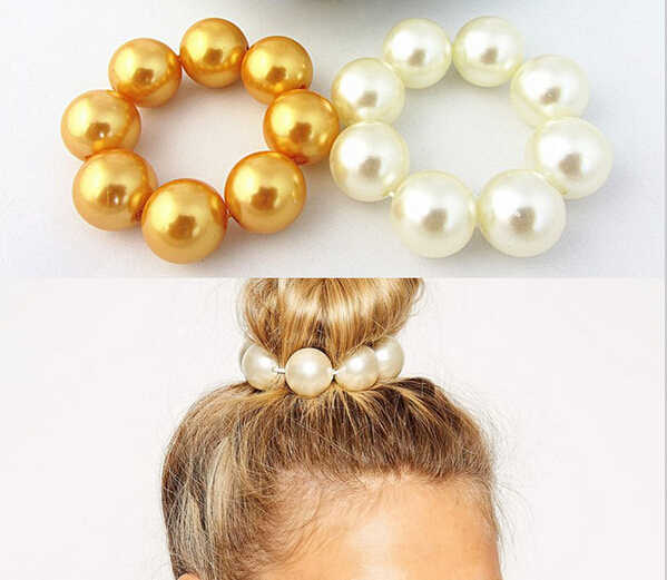 Wholesalefashion Women Hair Pearl Ponytail Holder Ring Tie Elastic Hair Band Rope Accessories Hairbands for women