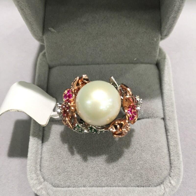 Nattural eau douce perle anneau 925 en argent sterling avec zircon cubique fleur anneau mode femmes bijoux taille réglable