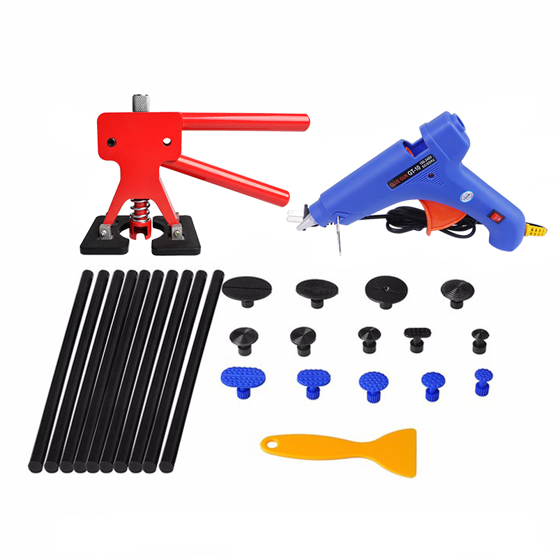 PDR Tools Dent Removal Car Dent Paintless Repair Dent Puller Lifter Dent Tabs Suction Cup Hot Glue Gun Sticks Tool Set  pdr tools for car kit dent lifter glue tabs suction cup hot melt glue sticks paintless dent repair tools hand tools set