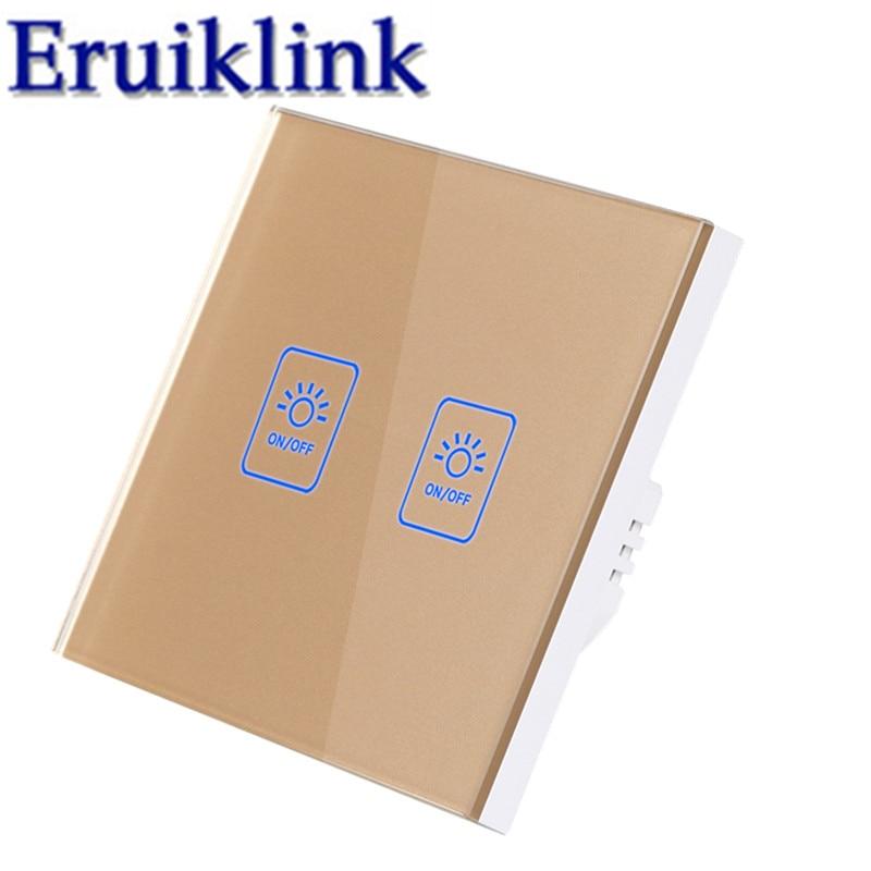 Купить с кэшбэком EU/UK Standard 1/2/3 gang 1 way Wall Touch Switch,Gold Glass Panel Lamp Switch For RF433 Smart home Light remote control switch