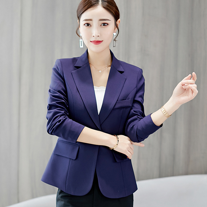 Mr.Nut 2019 Spring New Small Suit Women's Korean Version Of The Suit Slim Solid Color Long-Sleeved Slim Female Coat