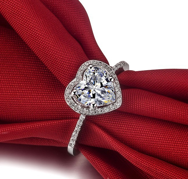 Sterling 925 Silver Marriage Silver 1CT Hollow Halo Heart Shape