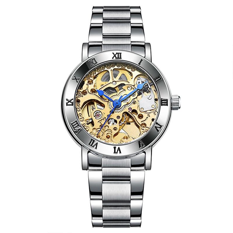 IK 2019 Fashion Automatic Self-Wind Women's Watch Tourbillon Skeleton Full Steel Silver Watch Women Dress Relojes Femeninos