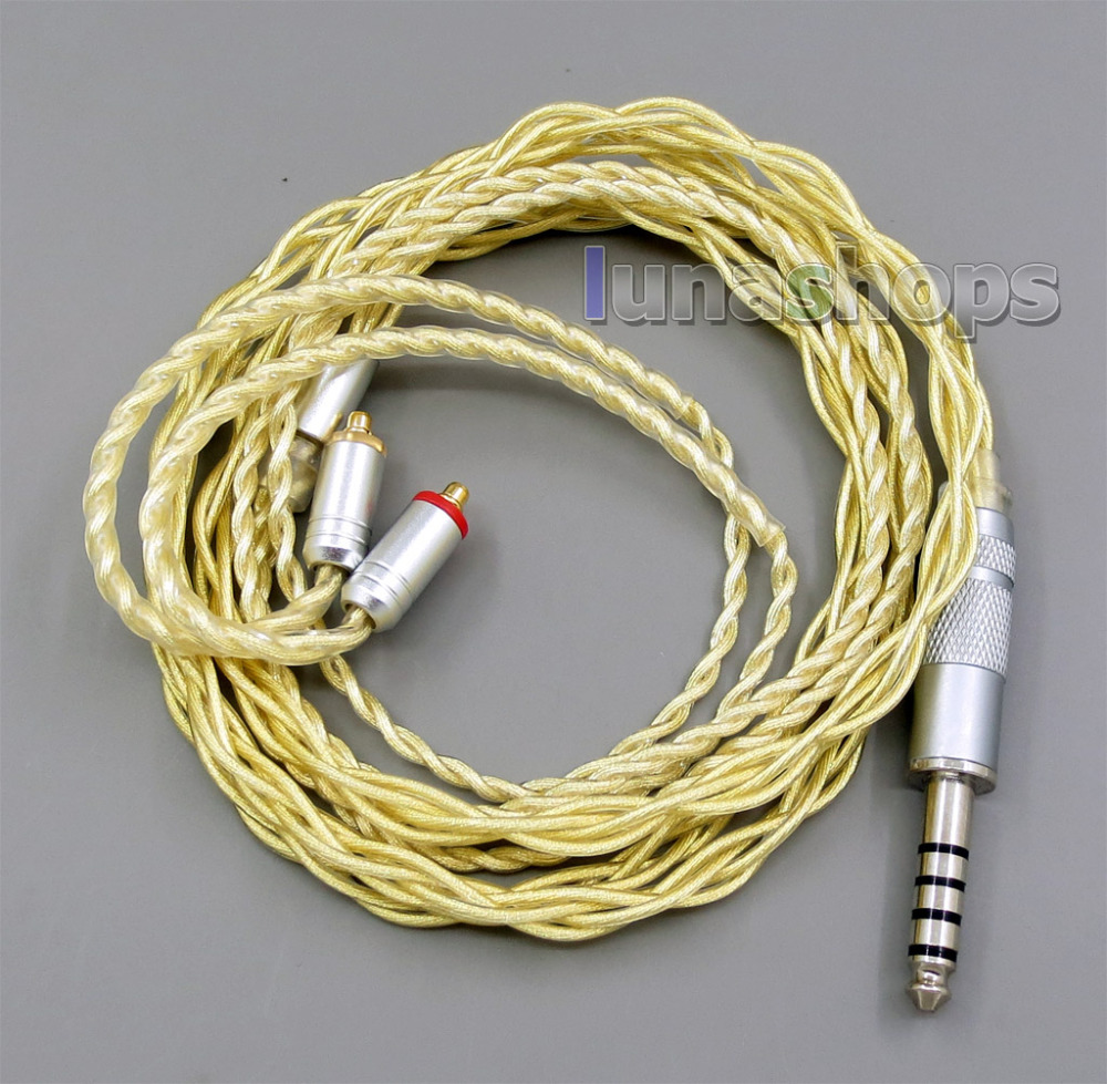 4.4mm Extremely Soft 7N OCC Pure Silver + Gold Plated Earphone Cable For Shure se535 se846 se425 se215 MMCX LN005949 800 wires soft silver occ alloy teflo aft earphone cable for shure se215 se315 se425 se535 se846 ln005408
