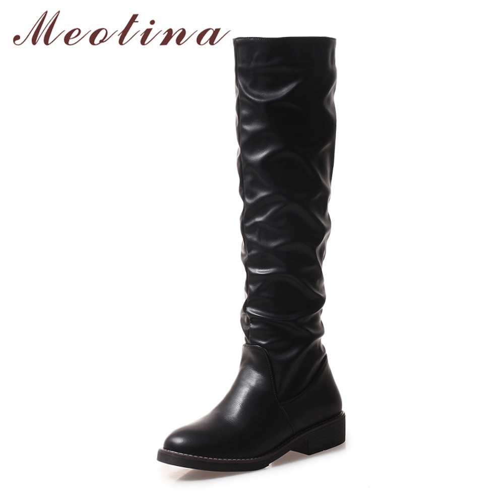 1e1ac7d378a Meotina 2018 Winter Riding Boots Knee High Boots Pleated Tall Boots Women  Square Low Heels Shoes Autumn Footwear Black 34 43-in Knee-High Boots from  Shoes ...