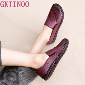 GKTINOO 2020 Fashion Women Shoes Genuine Leather Loafers Women Casual Shoes Handmade Soft Comfortable Shoes Women Flats 2020 new women s handmade shoes genuine leather flat slip on mother shoes woman loafers soft single casual flats shoes women