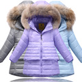 New Winter Girls Thicking Down Jacket Kids Girls Long Section of Real Fur Collar Waterproof Down Jacket Children Coat V-0513