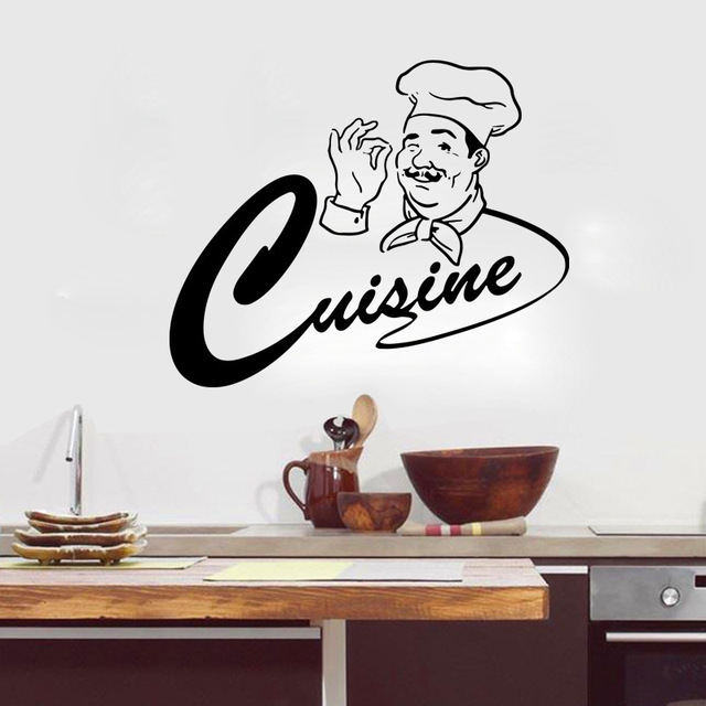 chef wall vinyl decal chef restaurant cook kitchen decor wall