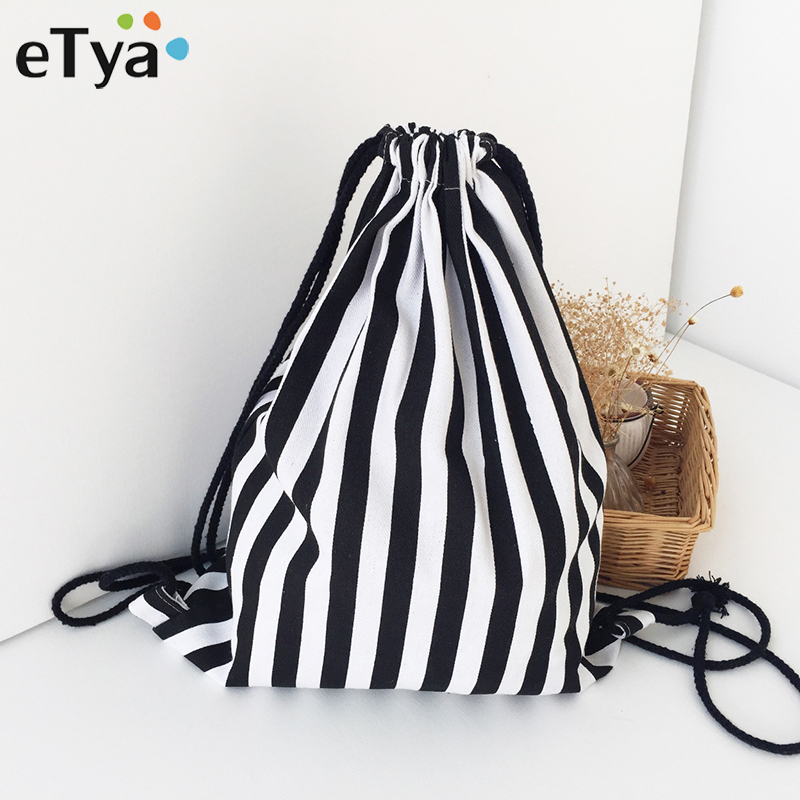 ETya Fashion Drawstring Bag Backpack Stripe Printing Teenagers Backpacks Unisex Travel Storage Package Mini Casual Shopping Bags
