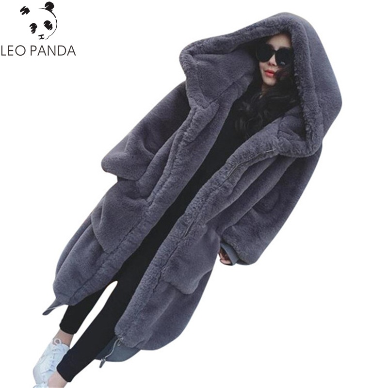 Pandapang Girls Winter Embroideried Single Breasted Hooded Thicken Woolen Long Jacket Coat