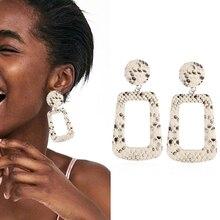 New Geometric Drop Earrings for Women Vintage Big Dangle Earrings Statement Earrings Snakeskin Party Jewelry Valentine's Day