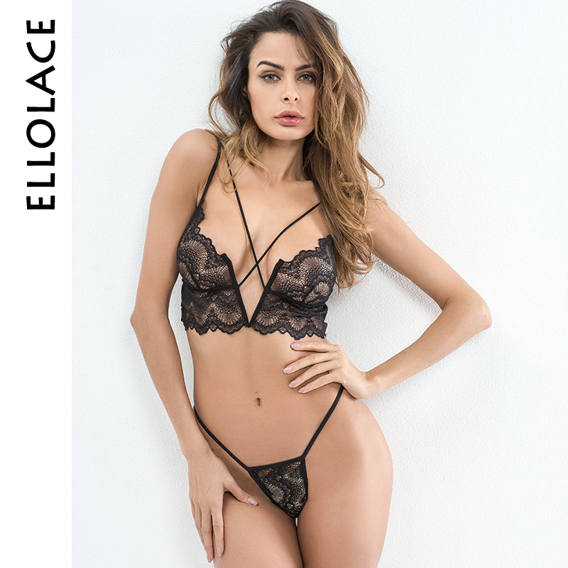 Ellolace Hot Sexy Dessous Set Spitze Transparent Caged Bralette V-String Thongs Bh Set Wireless Unterwäsche Frauen Mode Ernte top