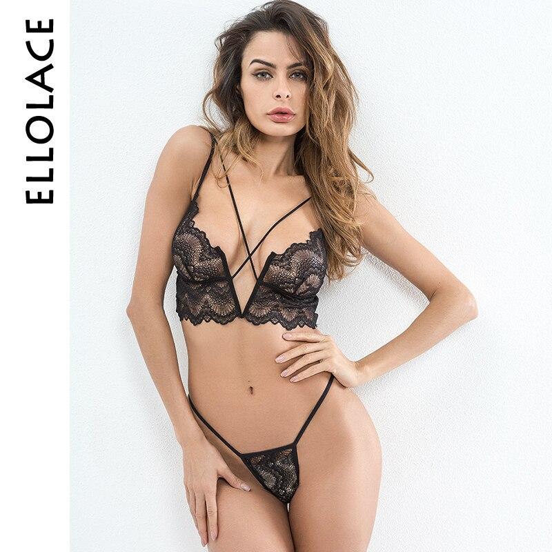 Ellolace Hot Sexy Dessous Set Spitze Transparent Caged Bralette V-String Thongs Bh Set Wireless Unterwäsche Frauen Mode Ernte top