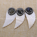 Natural white shell pearl carved wing pendant druzy pendant  with natural labradorite handcrafted Gems jewelry bead 613