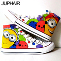 JUP  Males's Hand Painted Flat Shoes High Top Style Anime Despicable Me Minions Snow White Canvas Shoes for Girls Men Males boy
