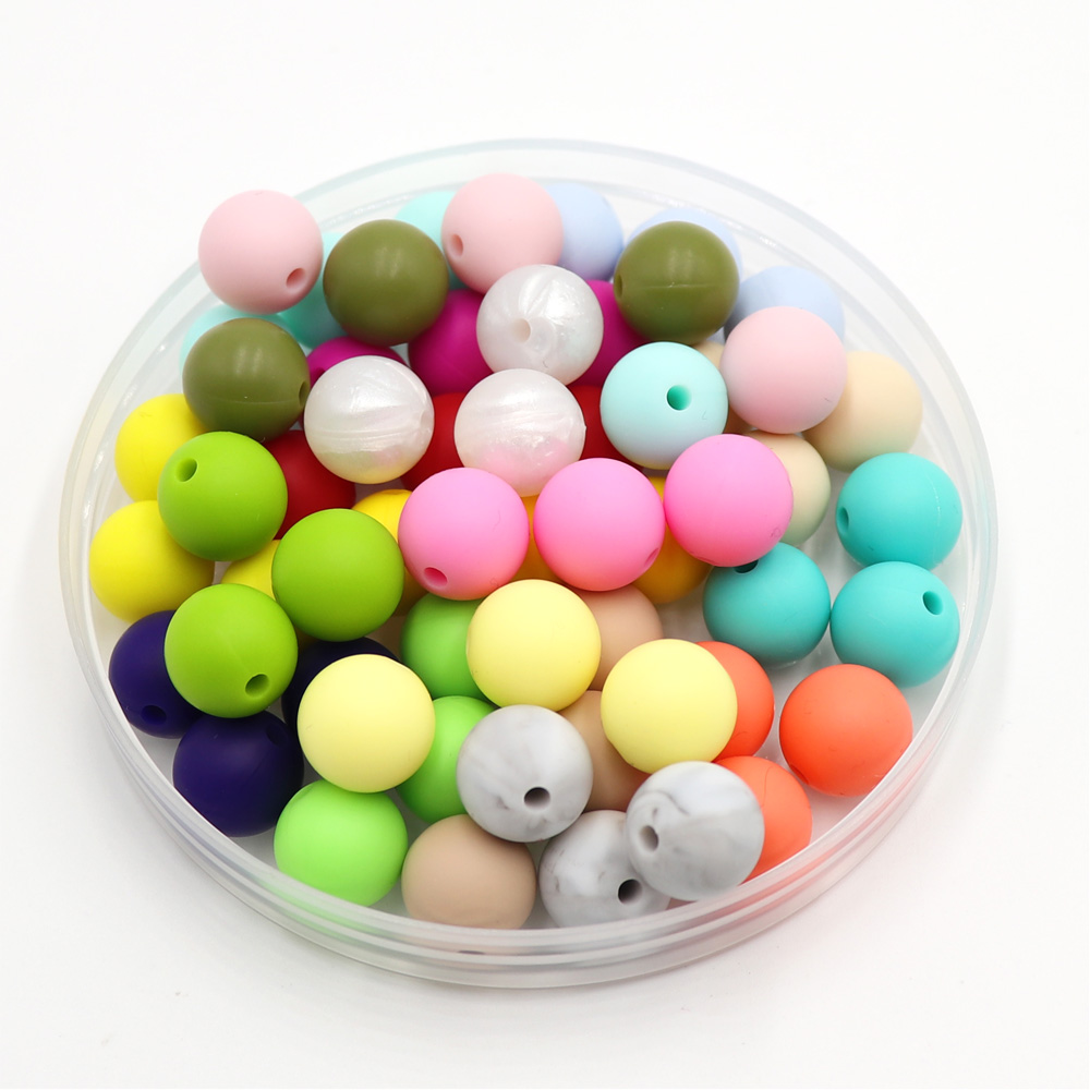 100 pieces 15mm Silicone Beads BPA Free Baby Teething Beads Safe Food Grade Nursing Chewing Round Silicone Beads Wholesale