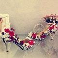 Zapatos de La Boda de estilo chino de la vendimia de ultra Tacones Altos Punta estrecha Partido de Encaje bordado de La Mariposa de la Novia Se Casó Con el Envío Libre