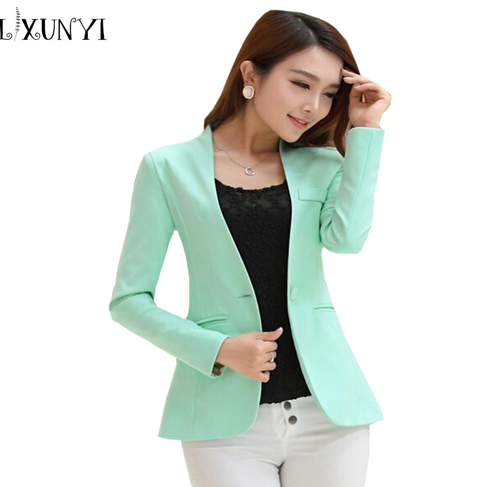 2018 Spring Autumn Long Sleeve Shrug Women Blazer Candy Color Ladies Blazer Jacket Suit Jackets ...