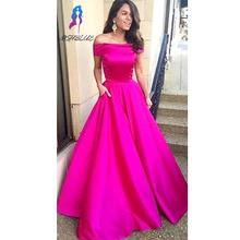 Rose Pink Ball Gown Graduation Dresses Prom Dresses Boat Neck Long robe de soiree Cheap Party Dresses Formal Dress
