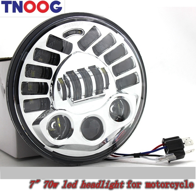 TNOOG For motorcycle 7'' Round  led projector headlamp 7 inch led headlight with Hi/Lo beam 70W