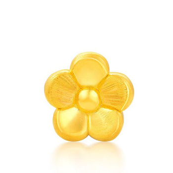 New Arrival Pure 24K Yellow Gold Bracelet 3D 999 Gold Flower Pink Crystal Bracelet